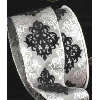 """Decorative Damask-Style Silver Gray and Black Wired Craft Ribbon 2.5"""" x 20 Yards"""