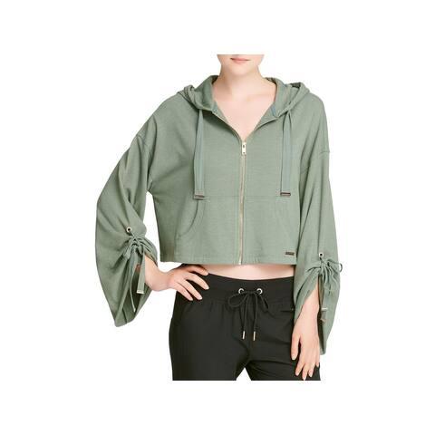 Donna Karan Womens Full Zip Sweater Hooded Long Sleeves