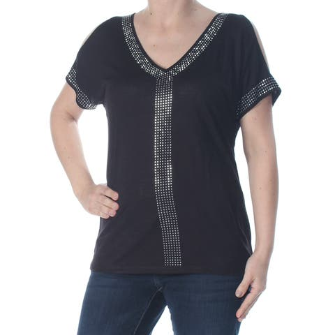 INC Womens Black Rhinestone Short Sleeve V Neck T-Shirt Top Petites Size: S