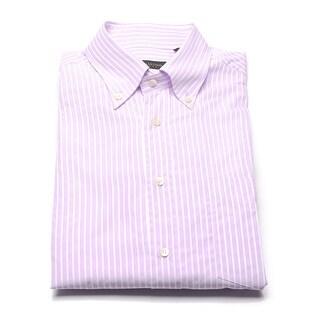Valentino Men's Cotton Buttoned Collar Dress Shirt Pinstriped Pink
