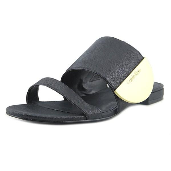 Calvin Klein Brinda Women Open Toe Leather Black Sandals