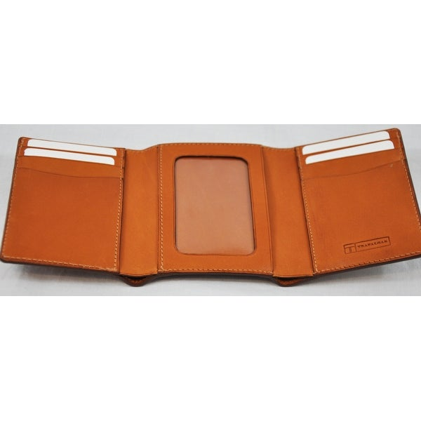 Trafalgar Mens Tan Tri Fold Wallet With Card Slots
