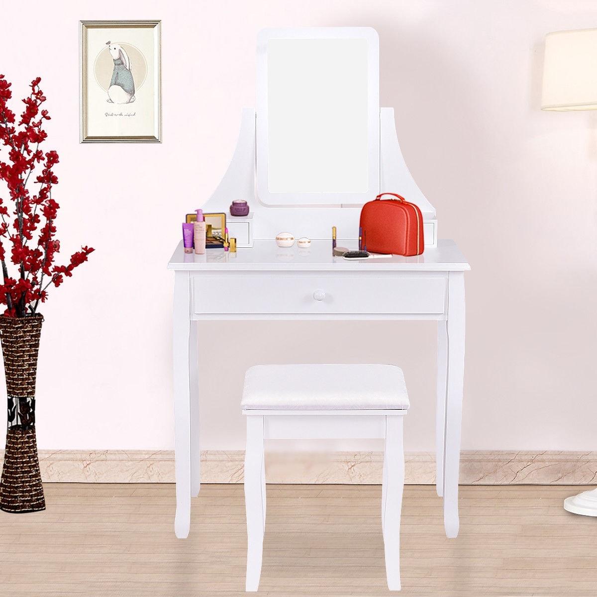 Gymax Bedroom Vanity Dressing Table Set W/ 3 Storage Boxes