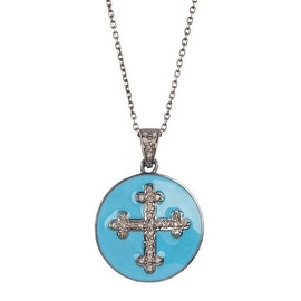 Turquoise Croos Diamond Pendant Necklace