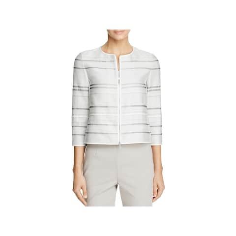 Lafayette 148 New York Womens Tilda Collarless Blazer Textured Striped