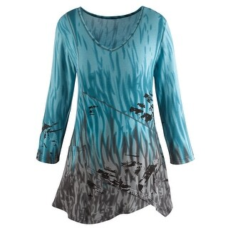 Women's Tunic Top - Northern Lights Blue and Gray Tie-Dye Shirt