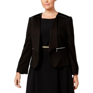 Nine West Womens Plus Open-Front Blazer Leather Trim Open Front