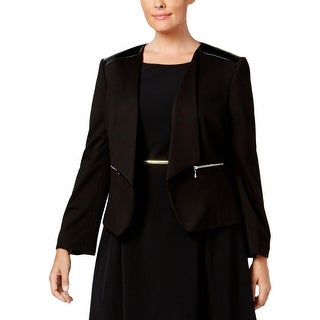 Nine West Womens Plus Open-Front Blazer Leather Trim Open Front