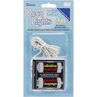 Deco Lights Battery Operated Teeny Bulbs - 20 Bulbs-Clear Lights, White Cord