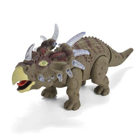 Wadeo Battery Powered Walking Dinosaur Triceratops Toy Figure Real Movement 1 Piece - SIZE