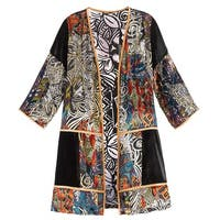 Women's Adele Velvet Duster - Open Front Long Jacket Abstract Print