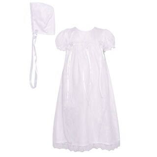 The Children's Hour Baby Girls White Floral Ribbon Baptism Bonnet Dress