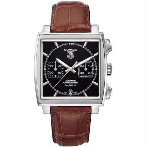Tag Heuer Men's CAW2110.FC6178 'Monaco Calibre 12' Chronograph Brown Leather Watch - Black