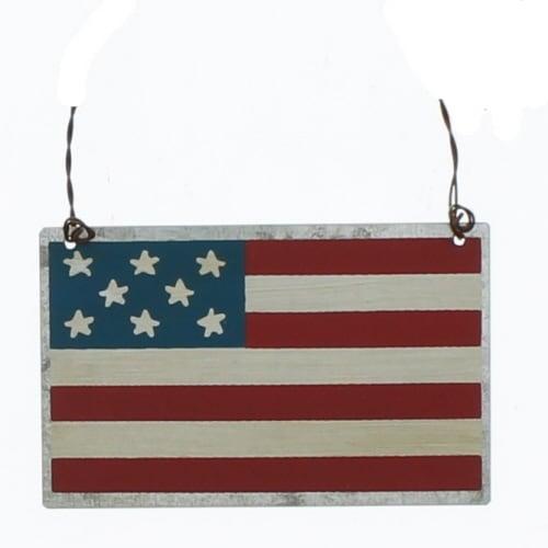 PBK Patriotic Decor - American Flag Small Tin Sign Ornament