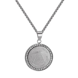 Annuit Coeptis Pendant Pyramid Illuminati Evil Eye Stainless Steel Necklace Mens