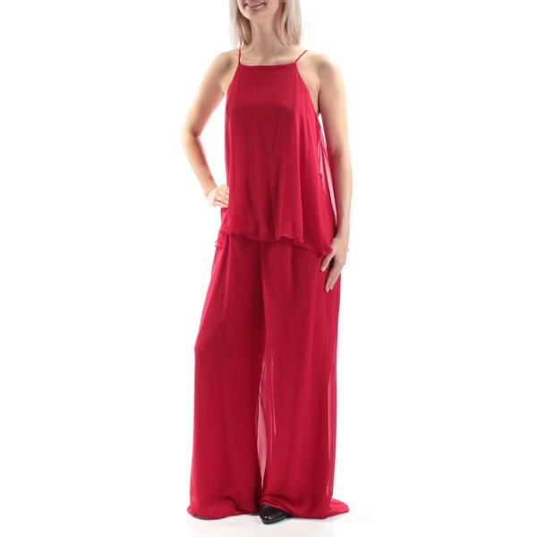 31da47907dd Shop MSK Womens Red Asymmetrical Spaghetti Strap Keyhole Wide Leg Cocktail  Jumpsuit Size  6 - On Sale - Free Shipping On Orders Over  45 - Overstock -  ...