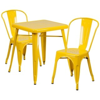 Brimmes 3pcs Square 23.75'' Yellow Metal Table w/2 Stack Chairs