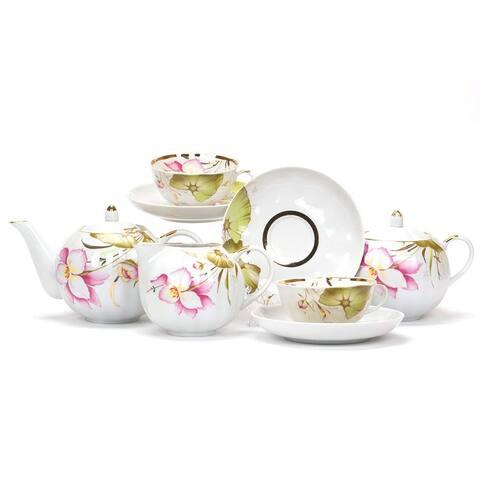 Dulevo Porcelain June Gold Rim 15 pc. Fine China Tea Set for 6