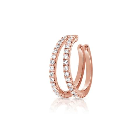 Ear Cuff Diamond Earrings 14K Gold by Joelle Collection