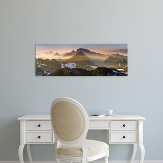 Easy Art Prints Panoramic Images's 'Fog covered mountains at sunset, Pieniny Mountains, Poland' Premium Canvas Art