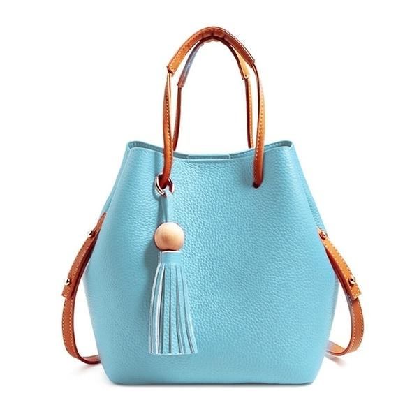 98e3fcf0bc22 Shop Tassel buckets Totes Handbag Women's casual Shoulder Bags Soft ...