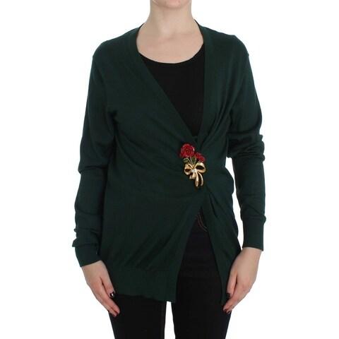 Dolce & Gabbana Dolce & Gabbana Green Silk Cashmere Rose Cape Sweater - it38-xs