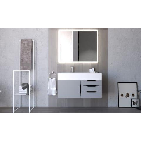 """Amazon 36"""" Wall Mounted Bathroom Vanity Set w/ White Top"""