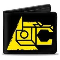 Voltron Lion Symbol + Logo Stripe Black Yellow Multi Color Bi Fold Wallet - One Size Fits most