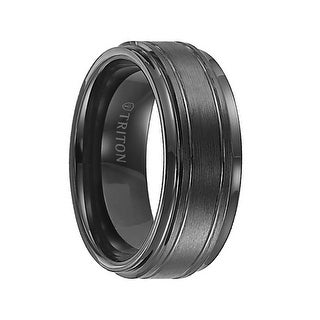 FRASIER Step Edge Black Tungsten Carbide Ring with Raised Brushed Center and Polished Offset Grooves by Triton Rings - 9mm