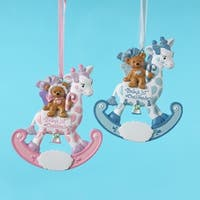 """12 """"Baby's 1st Christmas"""" Bear on a Giraffe Ornaments for Personalization 4.5"""" - PInk"""