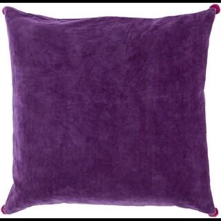 "22"" Velvet Poms Purple Haze Decorative Throw Pillow - Down Filler"