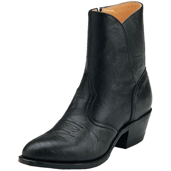 Boulet Western Boots Mens Cowboy Leather Ankle Zip Sporty Black