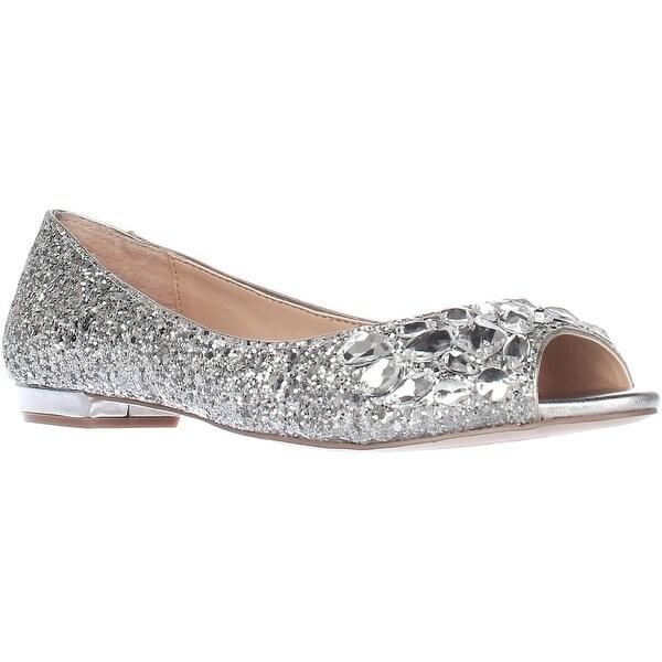 c4a7bec2dd Shop Jewel by Badgley Mischka Claire Rhinestone Ballet Flats, Silver ...
