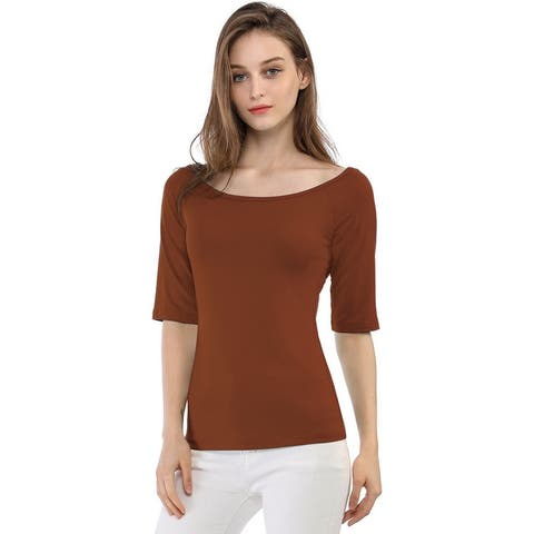 Women Half Sleeves Slim Fit Scoop Neck T-Shirt