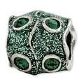 Italian Sterling Silver Reflections Green Swarovski Elements & Enamel Bead - Thumbnail 0