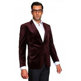 MZV-200 BURGUNDY Men's Manzini Fancy Paisley design Velvet, sport coat