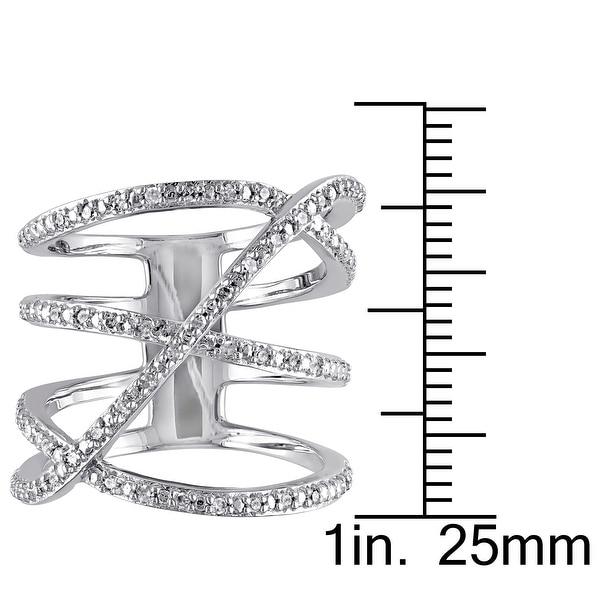Miadora Sterling Silver 1/5ct TDW Diamond Crossover Highway Ring