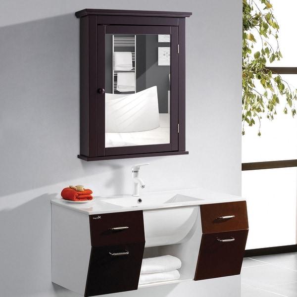 Shop Gymax Bathroom Mirror Cabinet Wall Mounted Medicine Storage Adjustable Shelf Brown