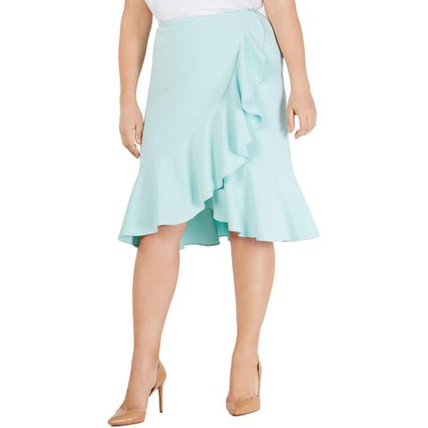 Calvin Klein Womens Plus Midi Skirt Ruffled Dressy - Light Blue