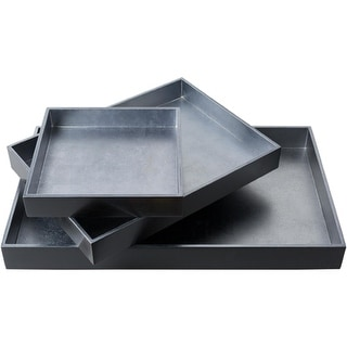 Set of 3 Black and Metallic Silver Modern Tray Decorative Accent 19.7""