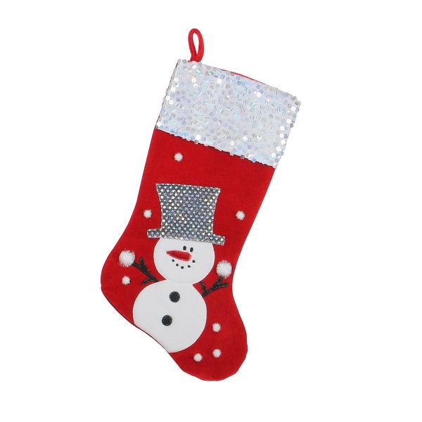 """20.5"""" Red and White Snowman Embellished and Embroidered Christmas Stocking with Sequined Cuff"""