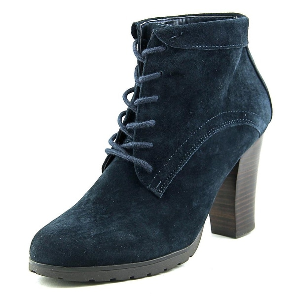 Nine West Lace It Up Women Round Toe Suede Blue Bootie