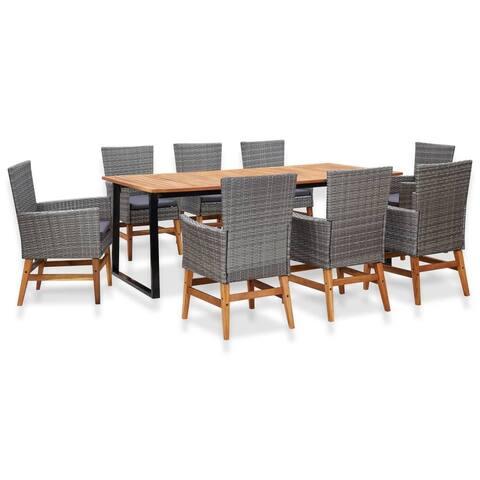 vidaXL 9 Piece Outdoor Dining Set Poly Rattan and Acacia Wood Gray
