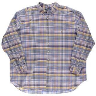 Ralph Lauren Mens Big & Tall Plaid Collared Button-Down Shirt - 4xlt