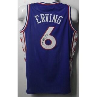 Julius Erving Autographed Blue Philadelphia 76ers blue size XL jersey wJSA