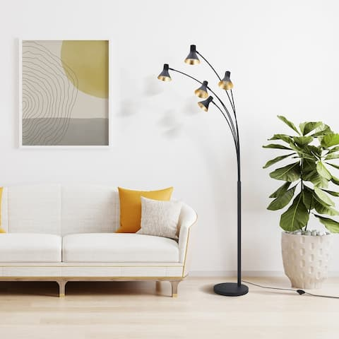 """Archiology 81"""" 5 lights Steel Cone Arch Floor Lamp w/ Black Gold Shades"""