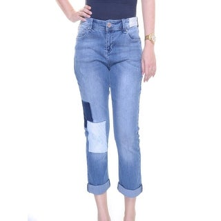 INC International Concepts Cropped Patchwork Jeans, Only Indigo, Size 18 - Blue - 18W