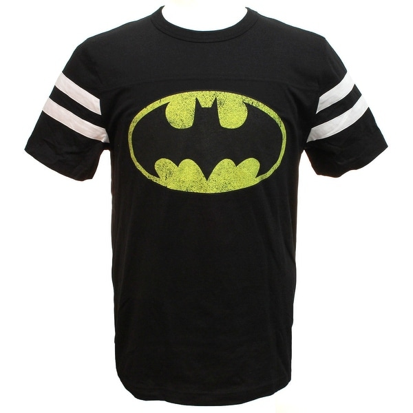 Shop DC Comics Batman Classic Logo Striped Sleeves Black T-shirt - Free  Shipping On Orders Over  45 - Overstock.com - 18434163 b3ae7ac89cfa8