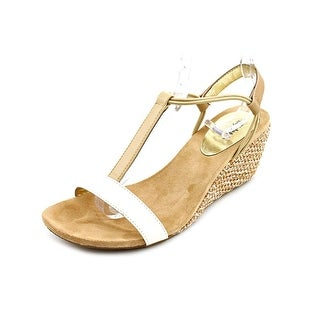 Style & Co Mulan Women Open Toe Leather Beige Wedge Sandal
