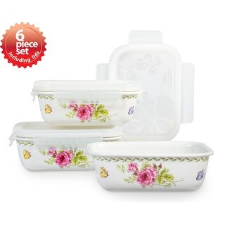 Lock & Lock Ashley 920ml /31oz Rectangular Ceramic Bowl 3PC Set